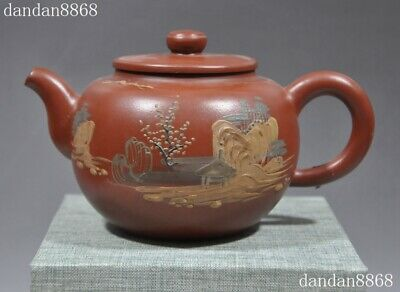 Chinese Yixing Zisha pottery landscape calligraphy Teapot tea set pot Tea maker