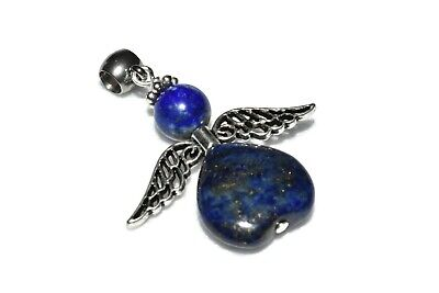 Lapis Lazuli Angel Pendant Necklace Natural Stone Crystal Healing Stainless S