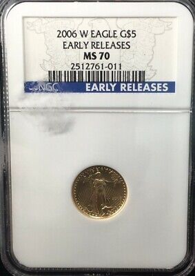 2006 w  BURNISHED 1/10 oz GOLD EAGLE NGC MS 70 EARLY RELEASES (011)