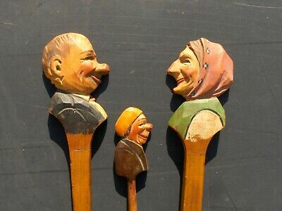 Carved Wood European Alpine Carvings, fork and two spoons, Germany/Austria