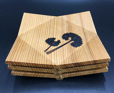 Japanese Wood Tea Mat Tray Saucer Coaster Set of 3
