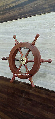 Collectible Nautical Wooden Ship Steering Wheel Pirate Wall Decor