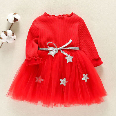 Toddler Kids Baby Girls Warm Outfits Star Belt Party Princess Dresses Red Gift