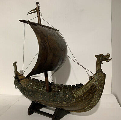 Edward Aagaard. Rare BIG Vintage Bronze Viking Dragon ship IRON ART Copenhagen.