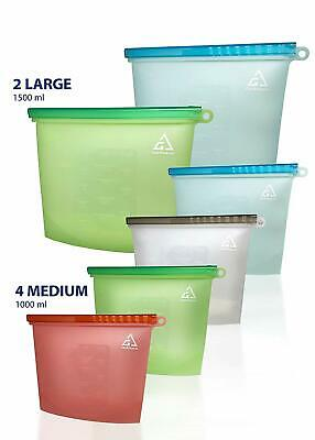 6 Pack Reusable Silicone Food Storage Bags (2L,4M) Airtight Seal Preservation