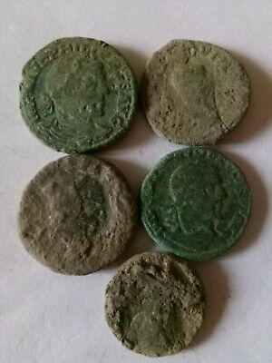014.Lot of 5 Ancient Roman Big Bronze Coins,Uncleaned,64,2gr