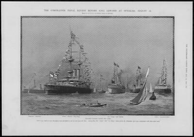 1902 Antique Print - HAMPSHIRE Spithead Solent Naval Review King Edward (73)