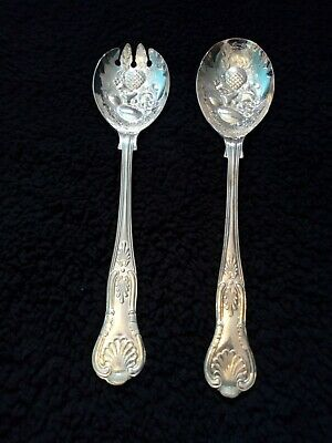 New Kings of Sheffield pair of EPNS silver plated fruit moulded serving spoons.