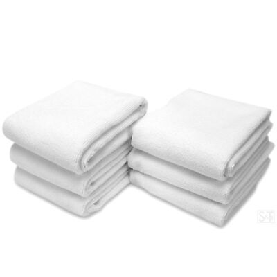 STS Microfiber Fitness Exercise Towels, 6 Pack, 16-Inch x 27-Inch, White New