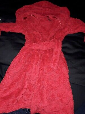 Red M&S Age 4/5 Years hooded Dressing Gown
