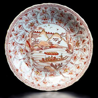 TOP! Ø27cm antique CHINESE KANGXI DISH of FIGURES IN BOAT 18th century porcelain