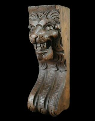 Carved Wood Lion Head and Paw Panel Corbel Pediment