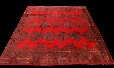 Authentic Hand-knotted Victorian rug 344 cm x 300 cm red ANTIQUE