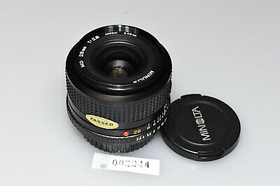 MINOLTA MD 28mm 1:2.8 PRIME WIDE ANGLE LENS MINT W/CAPS