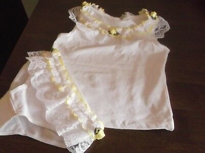 New Girls Frilly Rose Buds Romany Style Vest=Knickers Set 2-3 Years