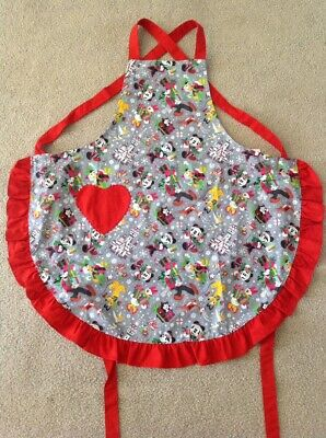 Disney Parks Santa Mickey Minnie & Friends Christmas Holiday Adult Apron Ruffles