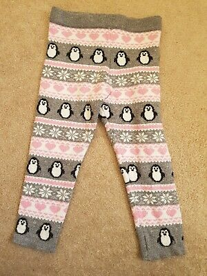 Girls Primark Festive Grey Pink Penguin Cosy Christmas Winter Leggings Age 3
