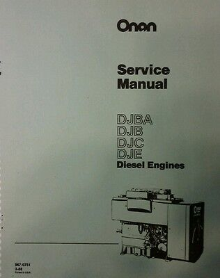 Onan Diesel DJBA DJB DJC DJE Electric Generator Set Repair Shop Service Manual