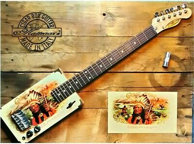 Indian Cigar box guitar 6 strings by Matteacci's made in italy