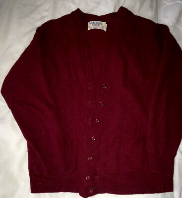 Vintage Lambswool Pure New Wool Cardigan Burgundy Size 10 By Jedforest