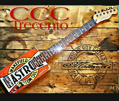 C 300 Castrol Cigar box guitar 6s Matteacci's made in italy