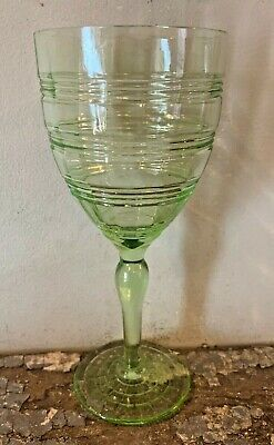 Depression Glass Anchor Hocking Banded Rings Green Footed Water Goblet