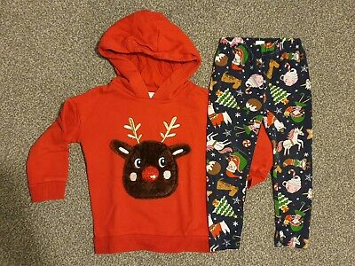 Great *F&F + TU* girls Christmas reindeer hoodie and leggings *3-4yrs*