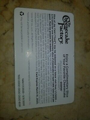 Cheesecake factory Cheesecake gift cards set of 9, valid 1-20-3-20 FREE SHIP US