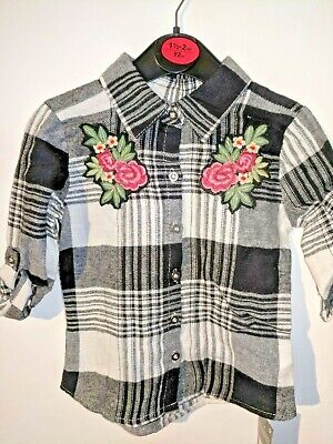 Girls Checked Shirt with Flower Motif Pink and Black ex high Street 2 3 4 5 6 7