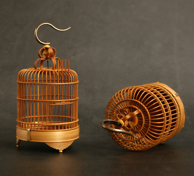 Exquisite Chinese Old Moso Bamboo Handmade Insect Grasshopper Cage Coop Basket