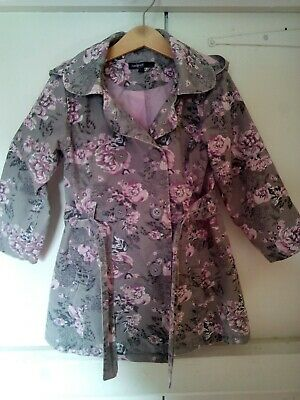 Girls age 4-5 Autograph M&S Autumn Winter Lined Coat Jacket Pink Grey Floral