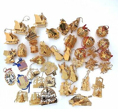 Lot of 40 Danbury Mint Gold Christmas Ornaments Collection Mixed Years