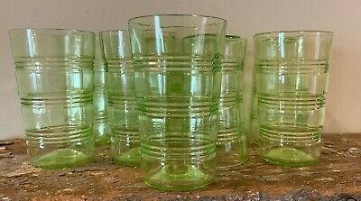 9 Anchor Hocking Banded Rings Green Depression Vaseline Glass Tumblers 1927-1933