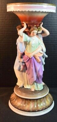 """19th Century Porcelain Centerpiece with Three (Braces?) Maidens"""" in Togas"""