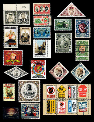 Trump - Set of 30 Different Art Stamps (Faux Postage, REPRO) RESIST!!!