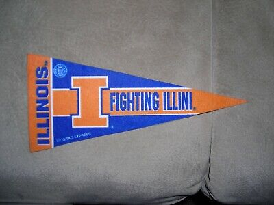 NCAA, Illinois Figiting Illini, team logo vintage mini pennant, ex condition