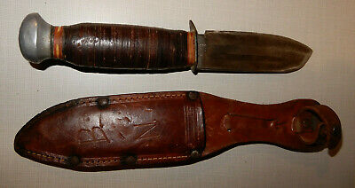 Antique Baron Solingen Germany Knife & Leather Sheath