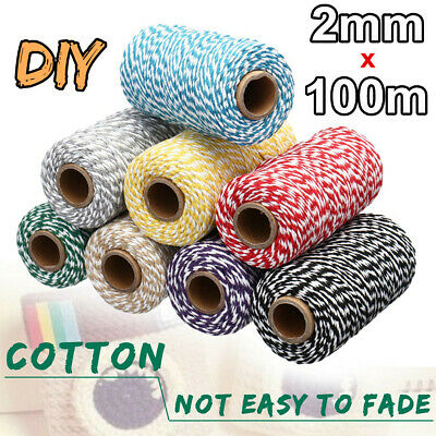 2mm 100M Twisted Pipping Cotton Cord String Rope Craft Sewing Macrame Home DIY