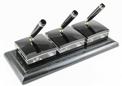 Montblanc Crystal LeGrand 146 3-Pen Stand w/ Black Marble Base