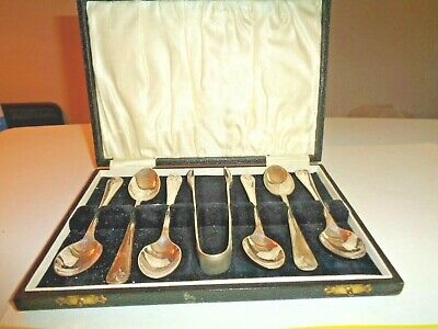 Sheffield Ep Nickle Silver Demitasse Spoons & Tong Set With Case