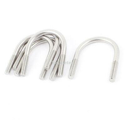 H● 5Pcs Silver Tone 304 Stainlesss Steel Round Bend U Bolt 8x45mm.