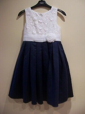 Girls Monsoon formal bridal special occasion dress size age 10 white navy blue