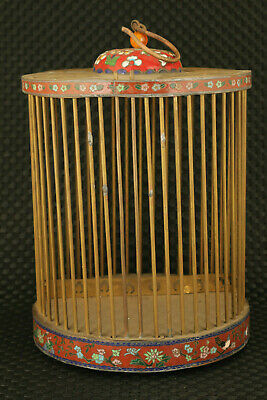 Chinese old cloisonne bronze hand caved birdcage statue home decoration collect