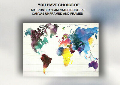 NEW WATERCOLOUR ART PRINTS,POSTER,CANVAS UNFRAMED and FRAMED -WORLD MAP