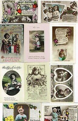 11 x ANTIQUE BIRTHDAY POSTCARDS with child themed photos1905-23
