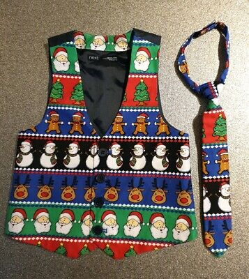 Next Boys Xmas Wastecoat And Tie 3 Yrs (Christmas)