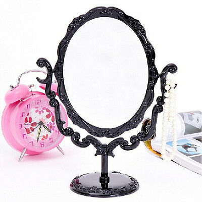 Girl Desktop Rotatable Gothic Rose Makeup Stand Mirror Black Butterfly~GN