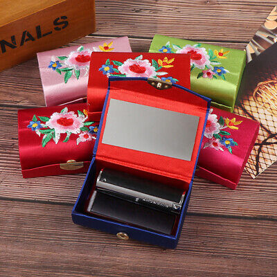 1XFlower Embroidered Lipstick Makeup Lipstick Case Box Mirror Hasp Cosmetic B~GN