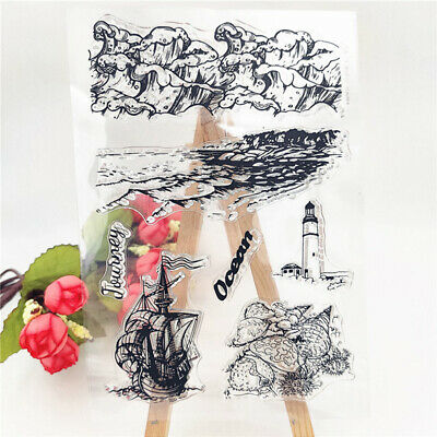 Coastline and lighthouse tower Silicone Stamp DIY Scrapbooking Photo Album ~GN