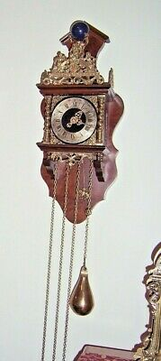 Quality Dutch Weight Driven Burl Wood Wall Clock, Serviced, Shipping Included,